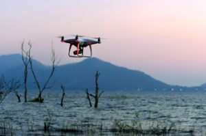 Drone Flying Through Rural Area