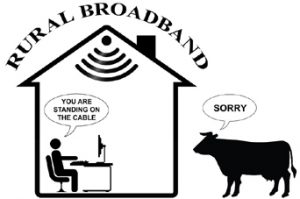 House Diagram With Rural Broadband And Cow Standing Outside